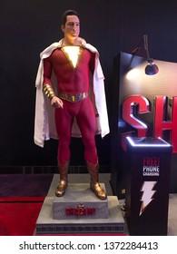 Bangkok, Thailand - April 2, 2019: Standee at theater of DC superhero Shazam! movie showing at cinema.