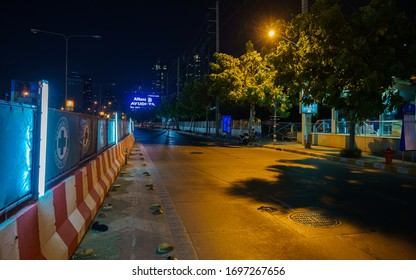 Bangkok, Thailand - April 2, 2020: Streets, highway onraps and sidestreets are deserted in Bangkok's Khlong Toei district