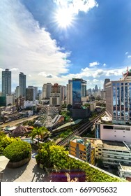 Bangkok, Thailand - April 20, 2017 : City space of accommodations, office building, condominiums and hotels in business area around sukhumvit road of bangkok in thailand.