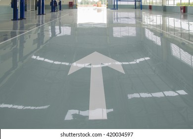 Bangkok, Thailand APRIL 2016:traffic symbol on new epoxy floor at factory building