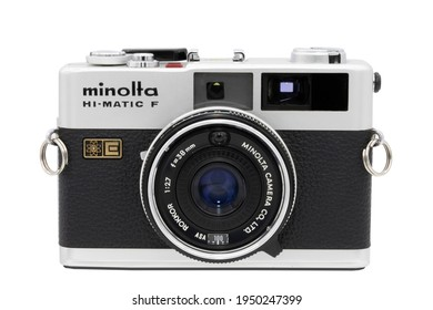 BANGKOK, THAILAND - APRIL, 2021 : Vintage compact camera (Hi-Matic F) in black and silver manufactured by Minolta From the early 1970s.