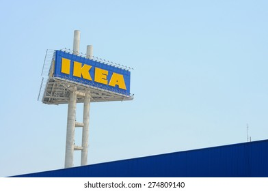 BANGKOK, THAILAND - APRIL 21, 2015: A signage of IKEA. IKEA is a multinational group of companies that designs and sells furniture, appliances, small motor vehicles and home accessories.