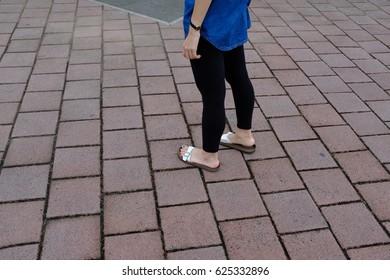 BANGKOK, THAILAND - April 21, 2017: Birkenstock is comfort-focused footwear chain providing supportive shoes, sandals & clogs for men, women & kids.