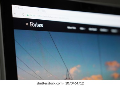 BANGKOK, THAILAND- APRIL 21: Close-up on Forbes Website on Laptop Screen on April 21,2018