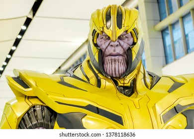 Bangkok, Thailand - April 21,2019: A setting of Thanos Portrait action figure from Avengers Marvel comic.