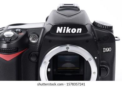 BANGKOK, THAILAND - APRIL 22, 2012_Nikon D90, a 12.3 megapixel digital single-lens reflex camera (DSLR) model that replaces the Nikon D80. It is the first DSLR with video recording capabilities.