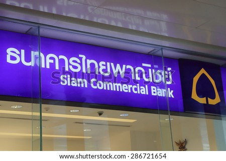 BANGKOK THAILAND - APRIL 22, 2015: Siam Commercial Bank. Siam Commercial Bank is the first bank of Thailand opened in 1904.