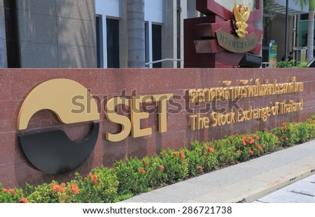 BANGKOK THAILAND - APRIL 22, 2015: Stock Exchange of Thailand. The Stock Exchange of Thiland also known as SET is the national stock exchange of Thailand located in Bangkok.