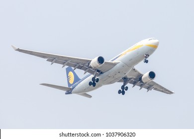 Bangkok, Thailand. - April 22, 2017 : Aircraft or Plane of Jet Airways or Airlines on the sky landing to Suvarnabhumi airport.