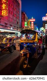 Bangkok, Thailand - April 22, 2017: Tuk tuk is a famous public transportation in Chinatown, Bangkok, Thailand.