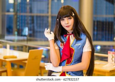 Bangkok, Thailand - April 22, 2017: Cosplay posing at the japan festival dedicated to video games, TV series and comics, anime, manga, cosplay.