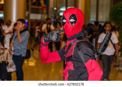 Bangkok, Thailand - April 22, 2017: Cosplay deadpool posing at the japan festival dedicated to video games, TV series and comics, anime, manga, cosplay.