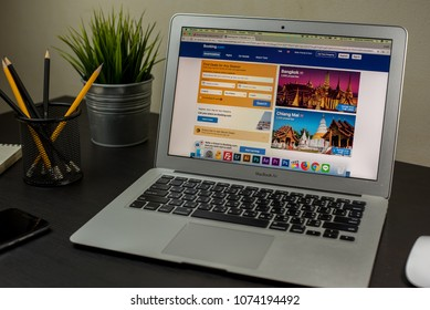 Bangkok, Thailand- April 22, 2018 : Booking.com hotels search page on the Apple MacBook Air, MacBook Air with app Booking.com online hotel reservations on the screen.