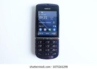 Bangkok, Thailand - April 22, 2018 :Nokia Asha 300, No sim card, mobile phone Keypad isolated on white background