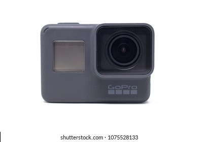BANGKOK, THAILAND- April 22, 2018:  GoPro action camera HERO 5 Black isolated on white background.