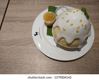 Bangkok, Thailand - April 22, 2019: After You Apple Bingsu Dessert Cafe restaurants is the most popular Bingsu Korean ice dessert restaurant in Thailand.