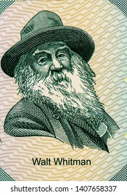 Bangkok - Thailand, April 22, 2019, Walt Whitman on 50 Dollars New York 11th state, Fancy polymer money Set of states. Applied Currency Concepts. Banknotes Collection.
