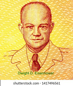 Bangkok - Thailand, April 22, 2019, Dwight D. Eisenhower on 50 Dollars Kansas 34th state, Fancy polymer money Set of states. Applied Currency Concepts. Banknotes Collection