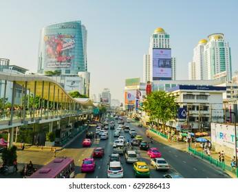 Bangkok Thailand April 22,2017  Pratu Nam Intersection. Pratunam is Bangkok's premier business district. Traffic is busy all day. Bangkok's central shopping district.