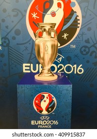Bangkok, Thailand - April 23, 2016: Model of champion cup for  the 2016 UEFA European Championship in France.