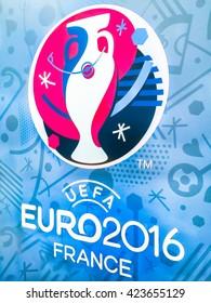 Bangkok, Thailand - April 23, 2016: Official logo of the 2016 UEFA European Championship in France on billboard at Future Park Shopping Mall.