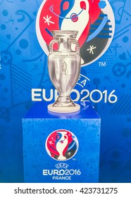 Bangkok, Thailand - April 23, 2016:Paper model of champion cup for  the 2016 UEFA European Championship in France at Future Park shopping mall.