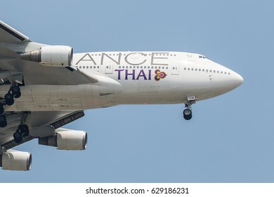 Bangkok, Thailand. - April 23, 2017 : Plane or aircraft of Bangkok Airways on the sky landing to Suvanabhumi airport.