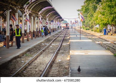 Bangkok, Thailand - April 23, 2017: Train and passengers at Bangsue railway station, Bang Sue Junction is a railway station and junction located in Bangkok.