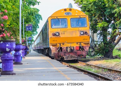 Bangkok, Thailand - April 23, 2017: Train is coming and passing at Bangsue railway station, Bang Sue Junction is a railway station and junction located in Bangkok.