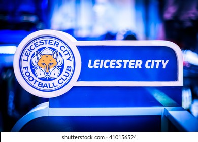 BANGKOK, THAILAND -April 24, 2016: the logo of Leicester City football club on the partition.