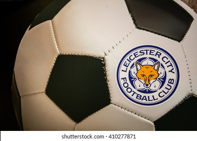 BANGKOK, THAILAND -April 24, 2016: Football has logo of Leicester City football club.