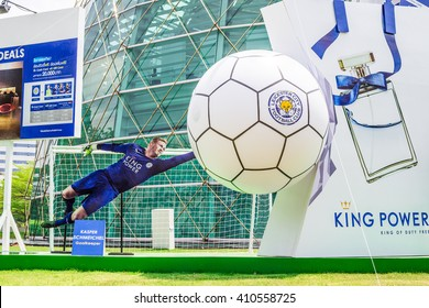 BANGKOK, THAILAND -April 24, 2016: Kasper Schmeichel, Leicester City players is presenters of King Power shopping mall which show in front of building.