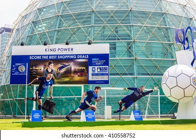 BANGKOK, THAILAND -April 24, 2016: Jamie Vardy , Shinji Okazaki and Kasper Schmeichel, Leicester City players are presenters of King Power shopping mall which show in front of building.