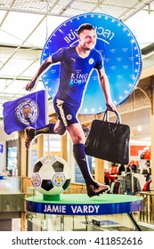 BANGKOK, THAILAND -April 24, 2016: Jamie Vardy, Leicester City player is presenter of King Power shopping mall which show inside King Power building.