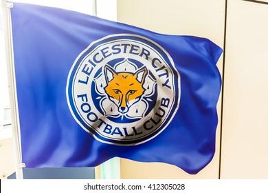 BANGKOK, THAILAND -April 24, 2016: flag of Leicester City football club shows at King Power shopping mall.