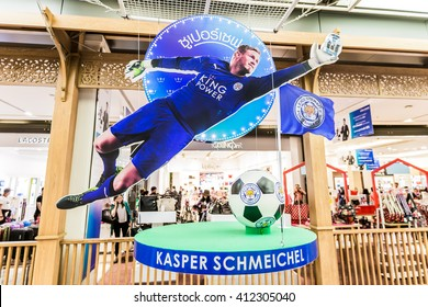 BANGKOK, THAILAND -April 24, 2016: Kasper Schmeichel, Leicester City player is presenters of King Power shopping mall which show inside King Power building.