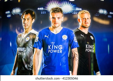 BANGKOK, THAILAND -April 24, 2016: Jamie Vardy , Shinji Okazaki and Kasper Schmeichel, Leicester City players are presenters of King Power shopping mall which show on the billboard.