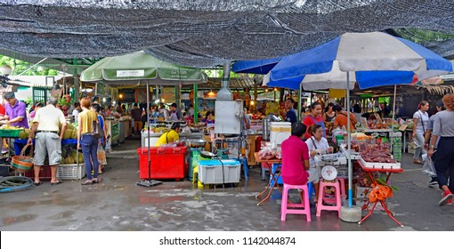 Bangkok, Thailand - April 25, 2015: Entrance of Khlong Lat Mayom floating market, a market dedicated to fruit and vegetable and above all to take away Thai food.