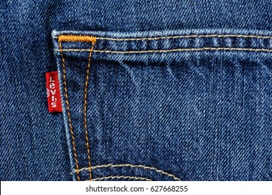 BANGKOK, THAILAND - APRIL 25, 2017: Close up of the details of new LEVI'S 501CT (Customized and Tapered) Jeans. LEVI'S is a brand name of Levi Strauss and Co, founded in 1853.