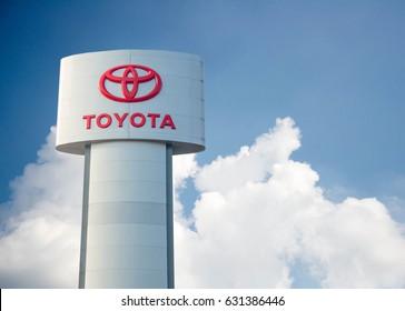 Bangkok, Thailand April 25, 2017 Toyota Toyota Logo with Automotive Techology in Thailand