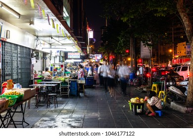 BANGKOK, THAILAND - APRIL 25: People on the street of Bangkok with long exposure effect on April 25, 2016 in Bangkok, Thailand.