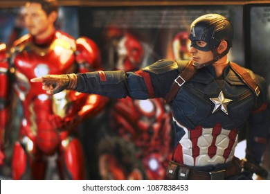 BANGKOK THAILAND - APRIL 26 ,2017 : Close up shot of Captain America Civil War superheros figure in action fighting. Captain america appearing in American comic books by Marvel.