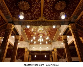 Bangkok, Thailand -APRIL 26, 2017: Thai painting and pattern on the ceiling with chandelier in Royal Pavilion Mahajetsadabadin