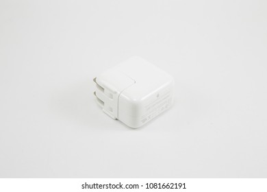 Bangkok Thailand , April 26 , 2018 : Apple USB Charger Adapter on white background