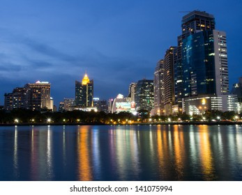 BANGKOK, THAILAND - APRIL 26 :Lake at the Benchakitti Park in Bangkok on 26 April 2013. Benjakiti Park is a park in honor of Her Majesty Queen Sirikit, is located in the factory area.