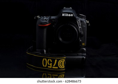 BANGKOK, THAILAND - April 26,2017: DSLR Nikon D750, In studio with dark backgruond - illustrative editorial
