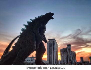 BANGKOK, Thailand - APRIL 27, 2019: Godzilla in Bangkok