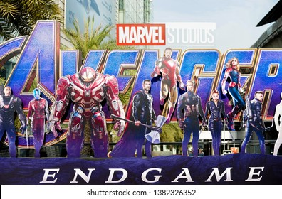 Bangkok, Thailand - April 27, 2019 : A photo of Avengers movie standee displayed outdoor to promote the last episode : Avengers Endgame, Marvel superhero movie.