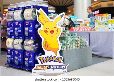Bangkok, Thailand - April 27, 2019 : A photo of Pokemon standee with Gashapon and toy collections on the background with selective focus on Pikachu (Pokemon Sun & Moon)