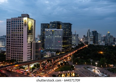 Bangkok, Thailand - April 28, 2017 : City view with many building in the evening and some parts of Lumpini park